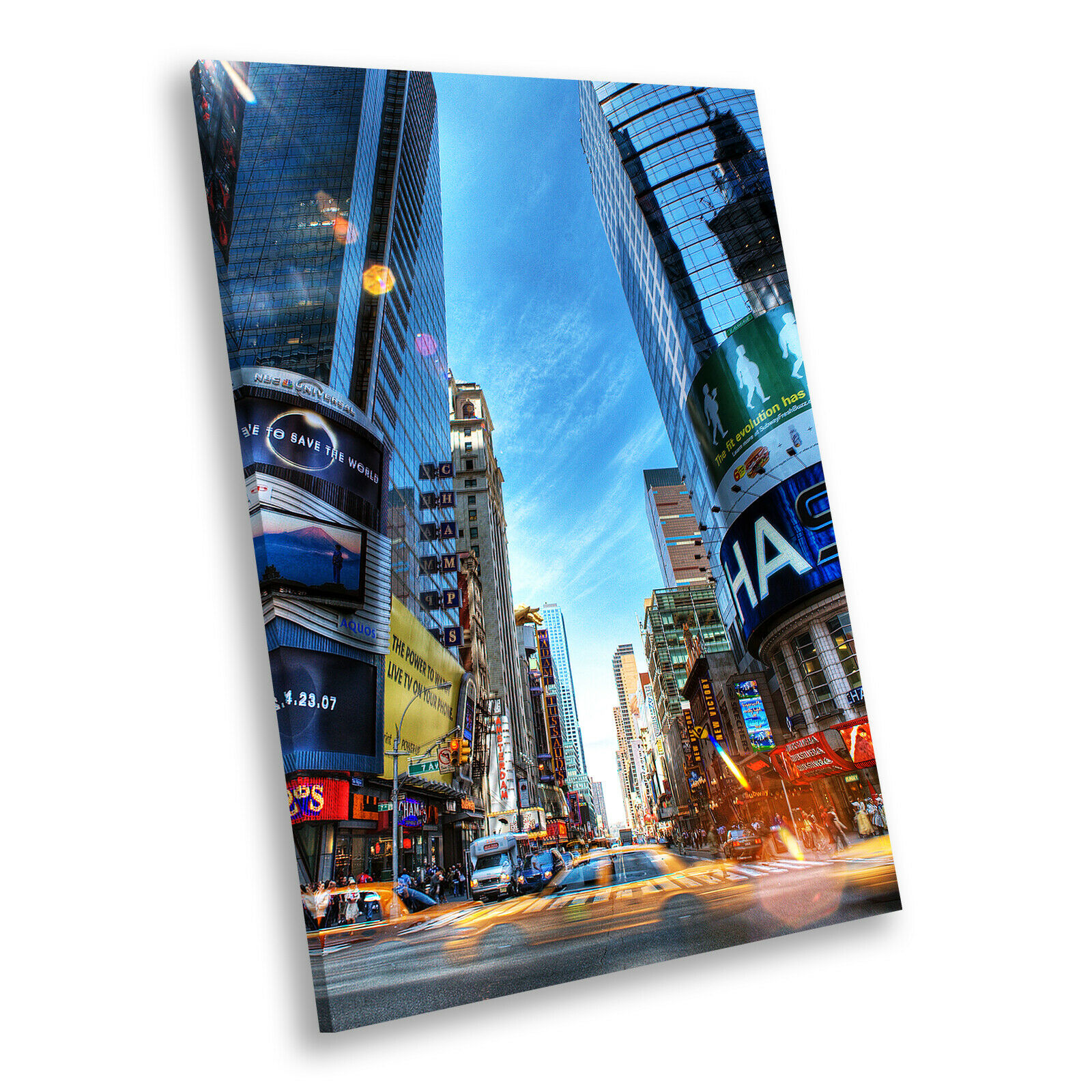 New York Time Square Colourful Portrait Scenic Canvas Framed Art Picture