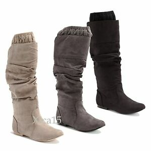 947c32bf7edf Women s Knee High Boots Flat Heel Almond Toe Ruched Faux Suede Knit ...