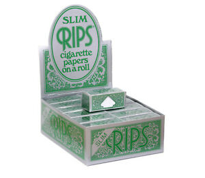 RIPS-GREEN-SLIM-CIGARETTE-PAPERS-ROLL-12-ROLLS-NEW