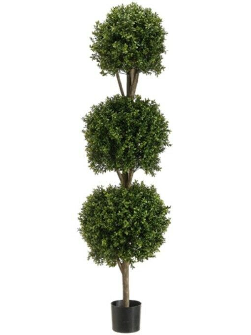 66  Boxwood 3 Ball Topiary Artificial Tree With Pot In Outdoor Plant Patio Fake