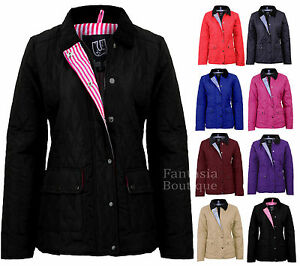 New-Ladies-Quilted-Padded-Button-Zip-Jacket-Casual-Women-039-s-Coat-Plus-Size-8-26