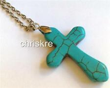 Turquoise Stone Cross Silver Plated Necklace Chunky 27 Inch Long Plus Size USA