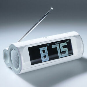 LCD-Display-Speaker-FM-Radio-Alarm-Clock-3-5mm-Line-in-For-MP3-4-Laptop-PC-White