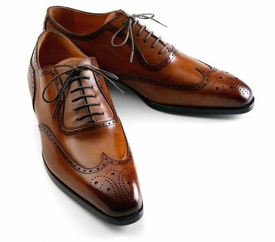 Handmade Men brown wing tip brogue formal leather shoes, Men brown dress shoes
