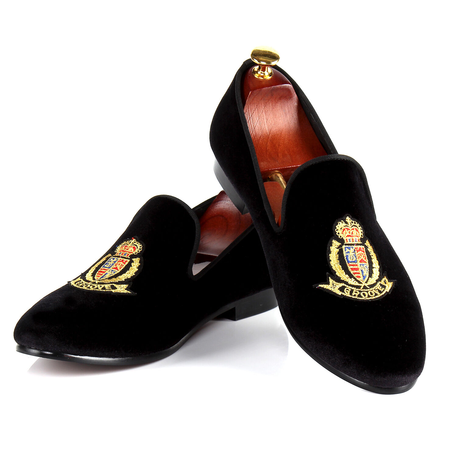 Harpelunde Velvet Men Dress Shoes Black Velvet Harpelunde Slippers Badge Loafers Size 6-14 c7e007