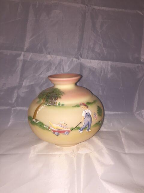 Fenton Burmese Handpainted Vase 15372500 G Fenton Signature Join