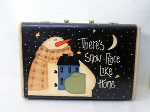 Vintage-Langmuir-Suitcase-Folk-Art-Painted-Snowman-Salt-Box-House-Christmas-Snow