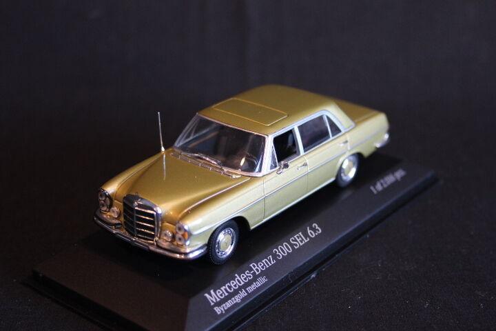 Minichamps mercedes - benz 300 sel 6.3 1968 - 1972 1 43 byzanzGold metallischen. (js)