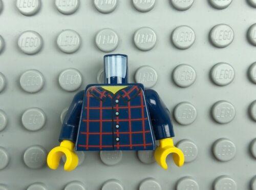 LEGO Minifigure Torso Assembly Male Dark Blue Plaid Shirt Yellow Hands x1