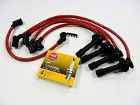Vms 89-94 Suzuki Swift Gt Gti 1.3 Dohc Spark Plug Wires & Ngk Platinum Plugs Red