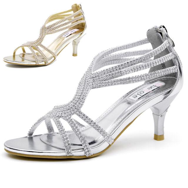 AU SHIP Womens Rhinestone Sandals Bling Wedding Party Dress Shoes Size 5 11