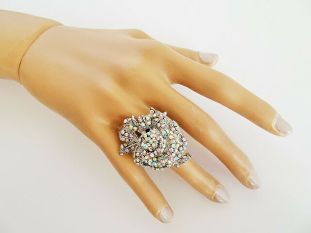 Stunning Flower Cocktail Ring Silver Tone AB Crystal Diamante Full Adjustable