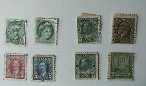 F3-Lote-8-antiguos-sellos-Canada-Postage-British-king-George-V-usados