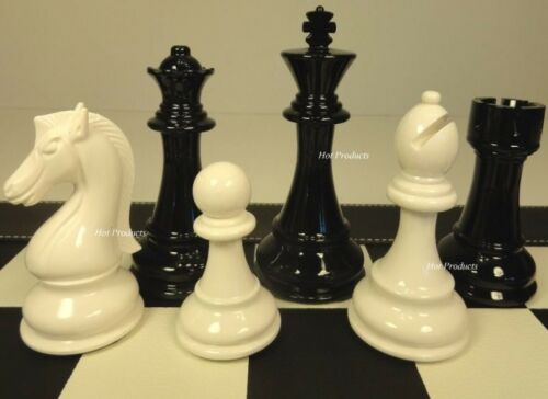 "NO BOARD LARGE STAUNTON BLACK /& WHITE HIGH GLOSS 4 1//4/"" KING CHESS MEN SET"