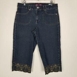 Gloria Vanderbilt 32 Waist Womens 12 Dark Blue Denim Capri Stretch Pants