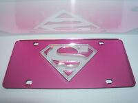 Superman Mirror Laser License Plate Pink/silver