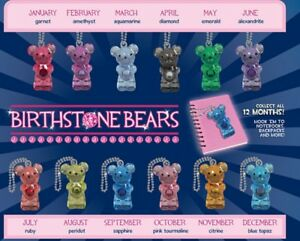 12 Birthstone Bear Key chains, 1 for each month, (Individually wrapped & labeled