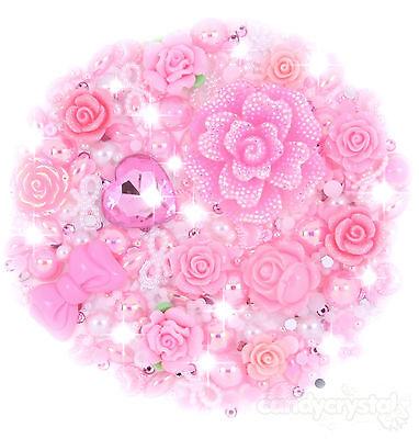 'Princess' Pink Flower, Heart Cabochon Pearl & Gems Set Decoden Kit Kawaii Craft