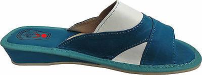 Pantolette - Hausschuhe - Latschen Gr.40 Echt LEDER Blau-Weiss (14.6.4.10)