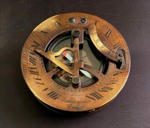 "Sundial Compass 3/"" Vintage Brass Nautical Marine Compasses Steampunk Retro Old"