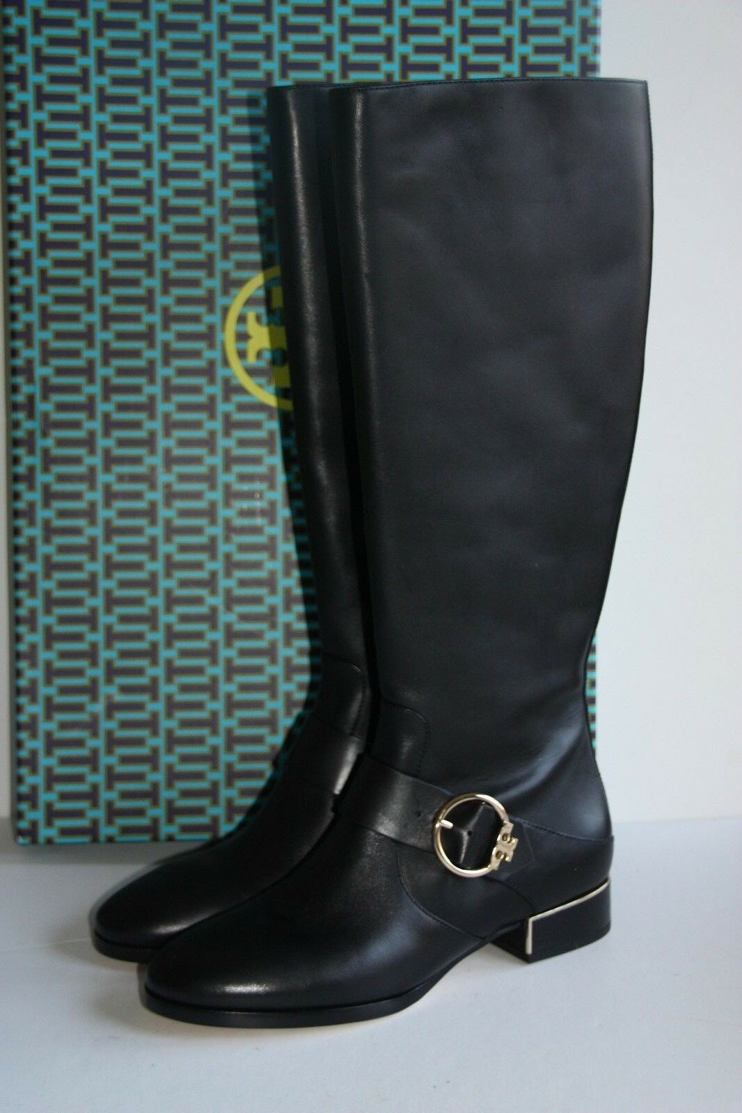 498 NEW Tory Burch SOFIA Black Leather Buckled Tall Riding Boots 7.5 / 37.5