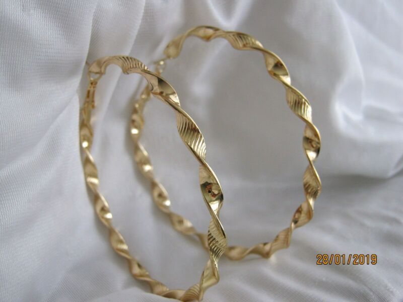 Twisted Hoop Earrings Gold Mixed Metals Size 80 Mm Large