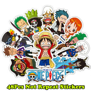 1a44420e288 Details About 48pcs One Piece Anime Cartoon Stickers Laptop Luggage Car  Decals Waterproof Pvc. Download