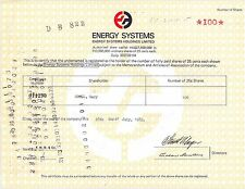 Energy Systems Holdings Limited   Hong Kong issue RES stock certificate share