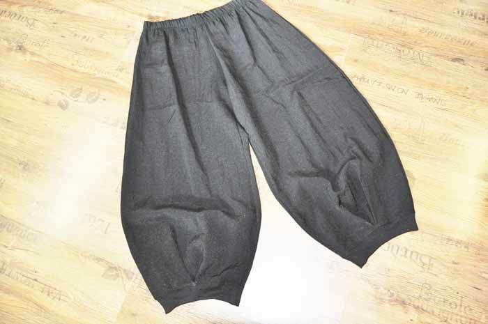 Layer look elaborate balloon pants Ingreened pleat metal taffeta & Knitted XL