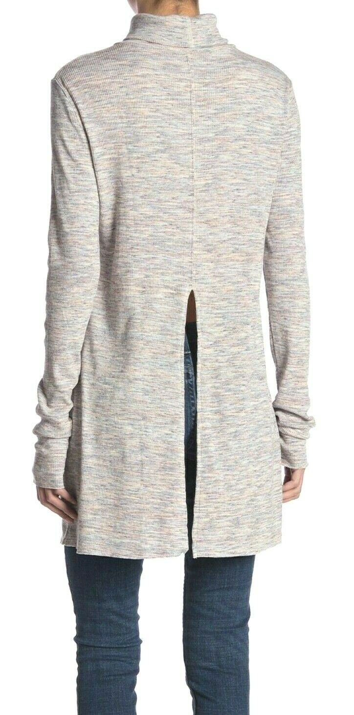 Free People OB887378 Cold-Stone Vented Long Sleeve Turtleneck Ivory Multi