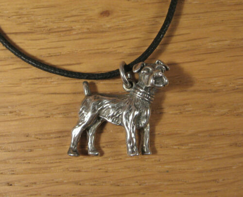 Details about  /Boston Terrier Dog Charm Pendant Necklace .925 Sterling Silver USA Made