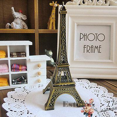 15cm Vintage Alloy Bronze Tone Paris Eiffel Tower Figurines Statue Model Decor