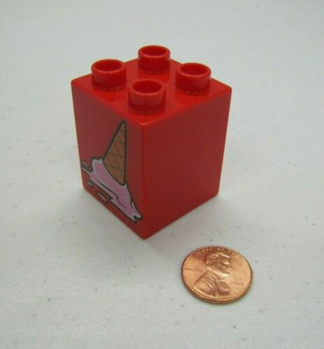 Rare Lego Duplo ICE CREAM CONE w// Spilled Ice Cream Specialty Printed Block