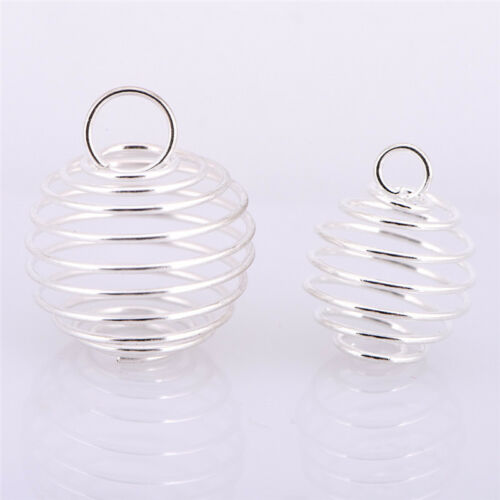 30X Spiral Bead Cages Pendants Silver Plated Craft Jewelry Making DIY Pop UK