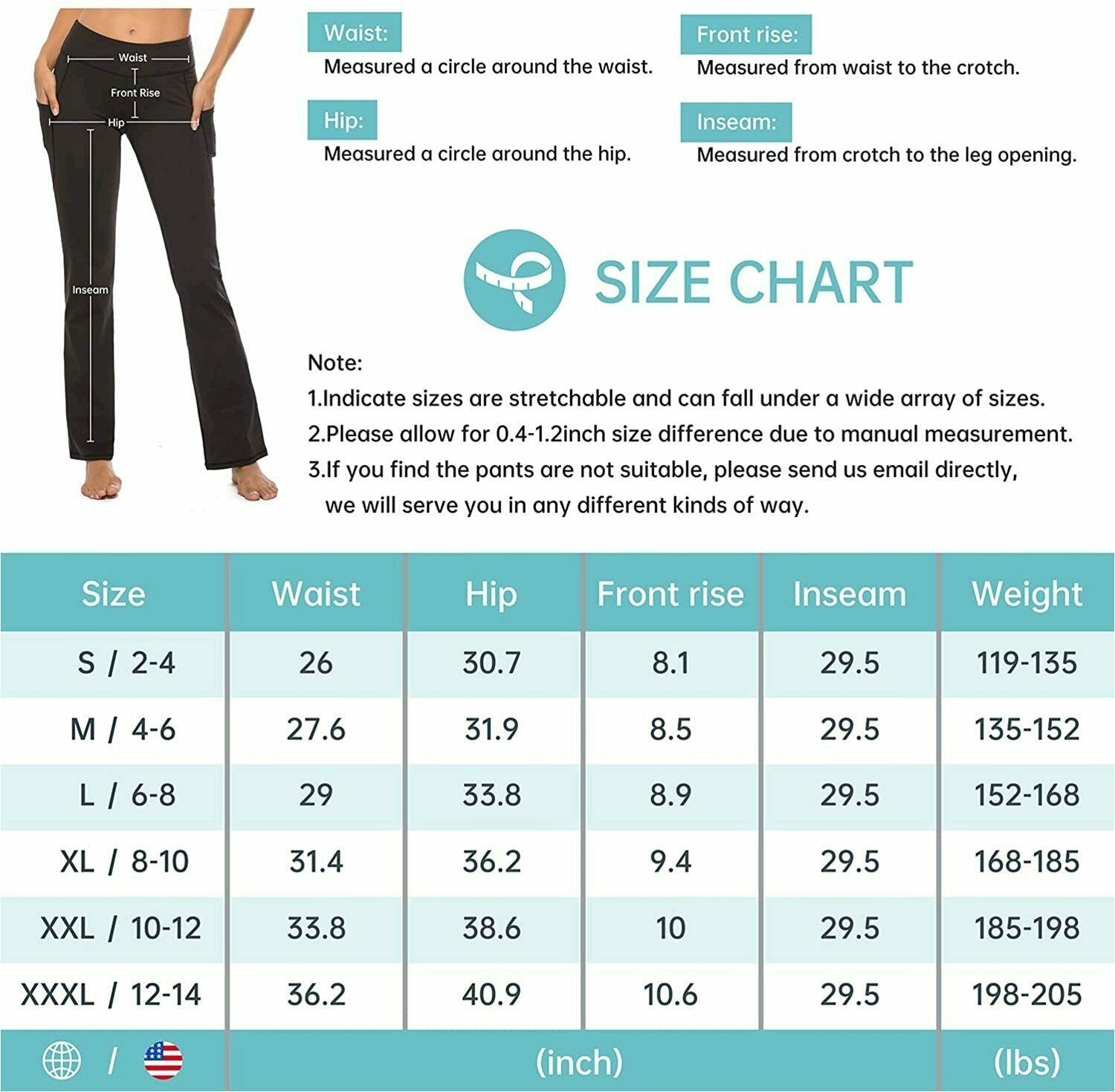 Yogamite Women's Standard Bootcut with 3, Black, Size X-Large/29