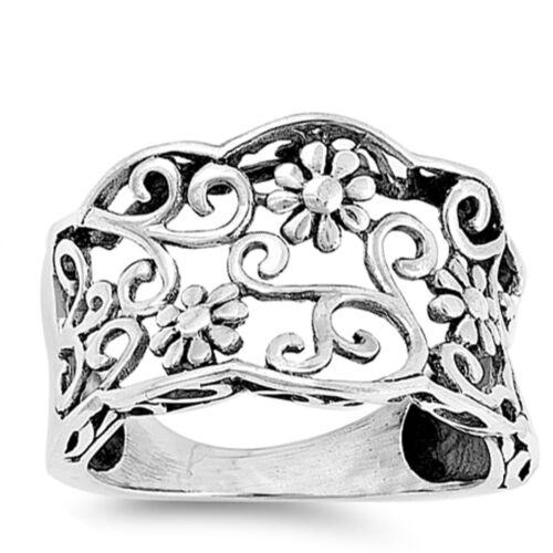 Flower Filigree Swirl Oxidized Sterling Silver Bali Ring Sizes 5-10