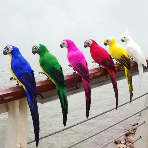 1 Stück Deko Ara Papagei Vogel Figur Vögelchen aus Künstliche Feder und Neu L