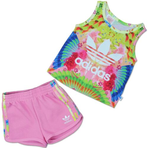 Adidas Enfants Feather FLOWER TREFOIL Set 2 pièces Fille short Tank Top Rose afficher le titre d'origine