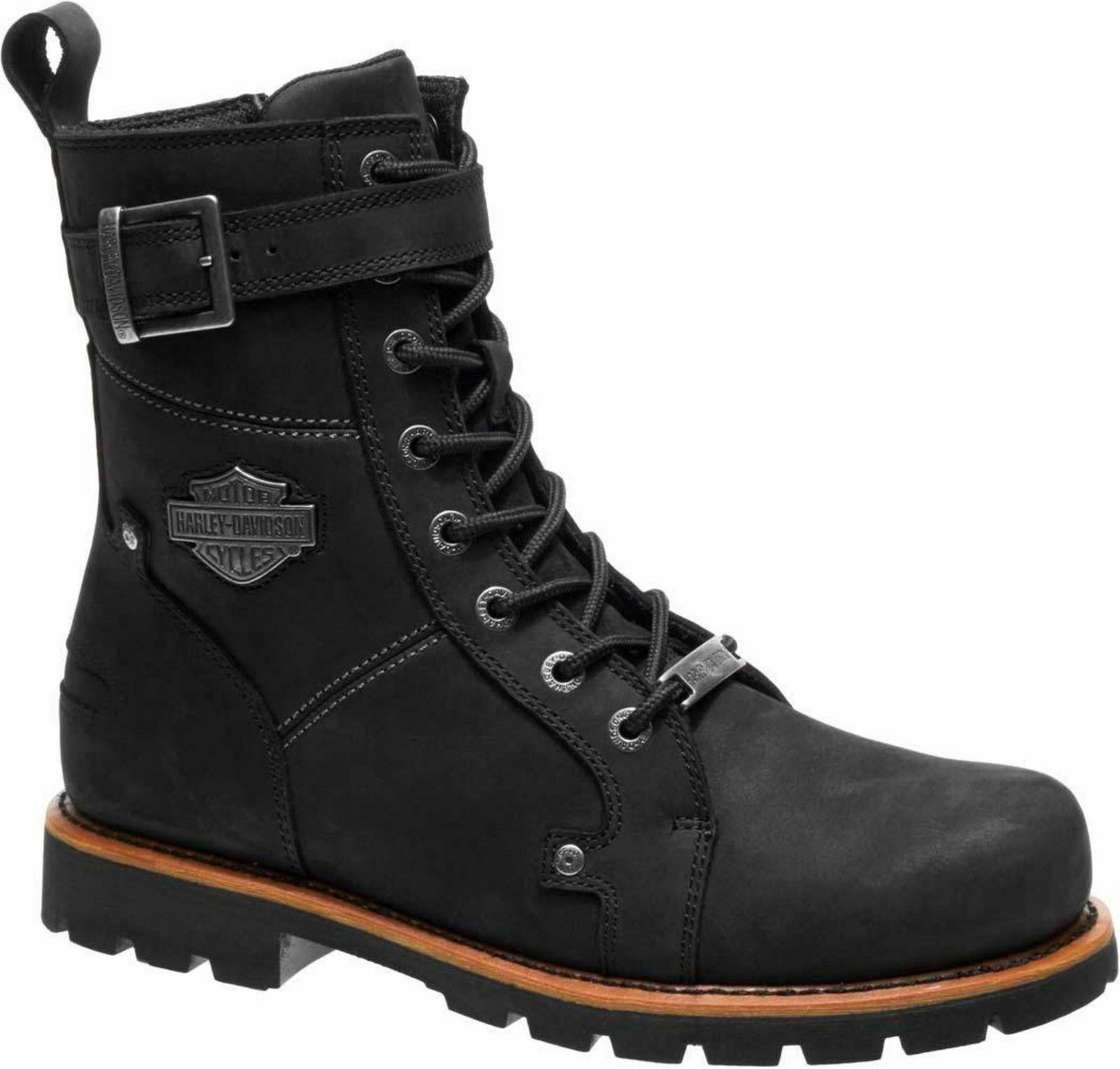 Harley Davidson WICKSON  Hombre Negro Buckles Leather Biker botas Rock Buckles Negro Lace Up c0d975