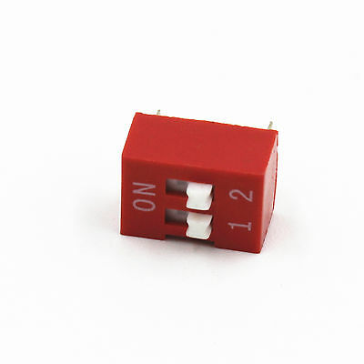 10* Red 2.54mm Pitch 2-Bit 2-Positions Ways Slide Type DIP Switch