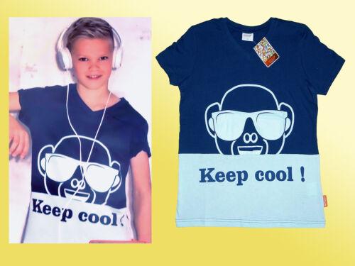 emoji® Kindershirt Knabenshirt T.-Shirt  V-Ausschnitt Keep Cool Gr.116-152 blau