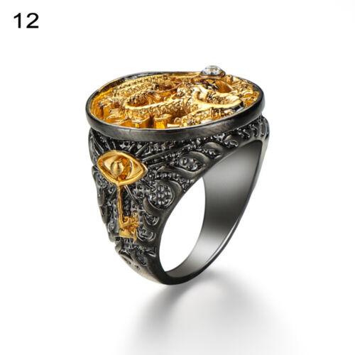 Taille 7-13 Un cadeau Bijoux Antique Noir 18K dorure Dragon sculpture Anneau