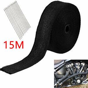 15m Heat Wrap Exhaust Manifold Titanium Black Insulating Tape 10 Cable Ties 30cm