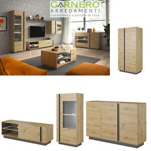 Dettagli su Mobili soggiorno NOA rovere parete attrezzata porta tv vetrina  moderno design