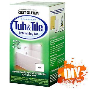 Rustoleum rust oleum white tub tile paint kit bath for Bathroom tile paint kit
