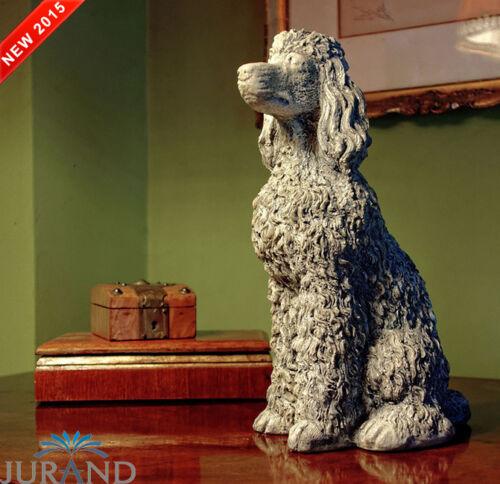 Skulptur Hund Puddel Steinfigur Figur Garten Skulpturen Statue Statuen Deko 28cm