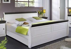 Massivholz Bett 180x200 Weiß Braun Kolonial Kiefer Massiv Doppelbett