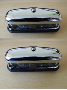 CLASSIC Pair of 127916 OF REAR NUMBER PLATE LIGHT CHROME METAL