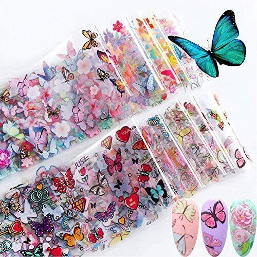 Kalolary 10 Sheets Butterfly Nail Art Foil Transfer ...