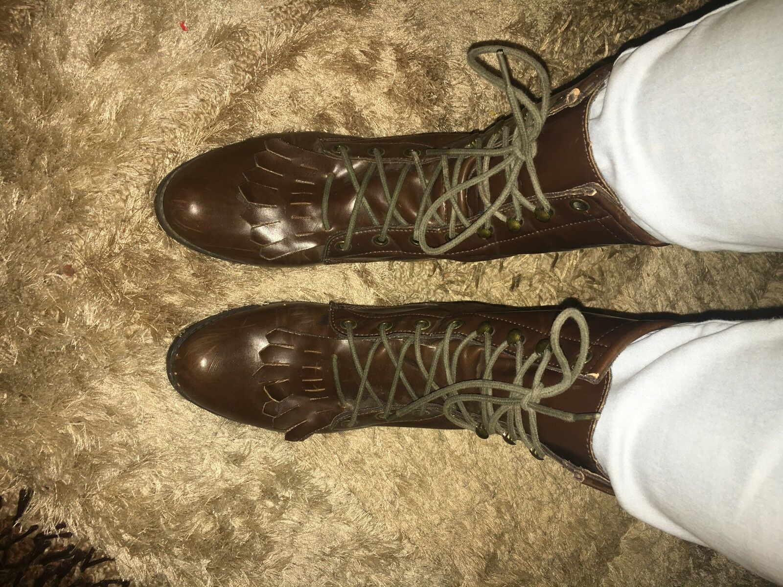 Womens Brown Leather Lace-Up Size 8 Boots